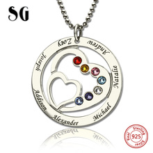 Authentic Sterling Silver 925 Mom's Heart Necklace with Family Names & Birthstones Personalized Custom Jewelry New Arrival недорого