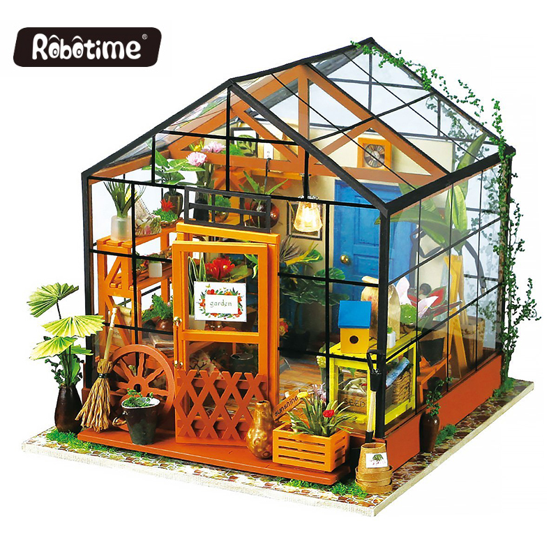 Robotime Diy Miniature Wooden Doll House Furniture Kits Handmade Craft Miniature Model DollHouse Toys for Christmas Gift