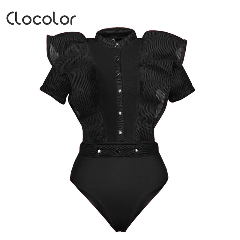 Clocolor Women Jumpsuit Falbala See-Through Patchwork Skinny Shorts Net Yarn Sexy Buttons Solid 2018 Black Women Jumpsuits