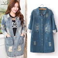 5XL Plus size 2016 Korean Casual Denim Patchwork Overcoats Vintage Loose Long Jeans Coat Spring Autumn Jeans Trench Coat