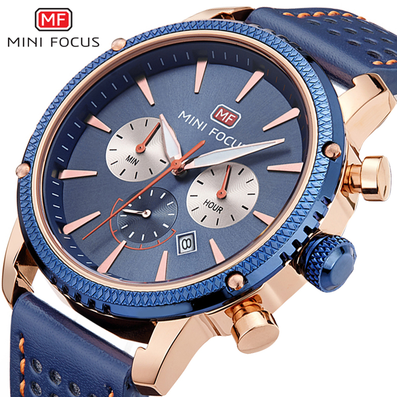 MINIFOCUS Luxury Brand Quartz Calendar Watch Men Genuine Leather Strap Analog Date Mens Watches Casual Sport Montre Homme 2018 fosining luxury montre homme watch men s auto mechanical moonpahse genuine leather strap watches wristwatch free ship