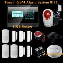 ЖК Сенсорной Клавиатурой Беспроводной GSM Сигнализация Дома Сигнализация Системы Умный Охранной Сигнализации для Охраны Дома + Флэш-Сирена
