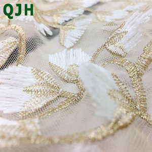 Image 5 - 5y Exquisite Gold thread 3D embroidery lace fabrics,High quality white mesh Openwork wedding Accessories Dress embroidered cloth
