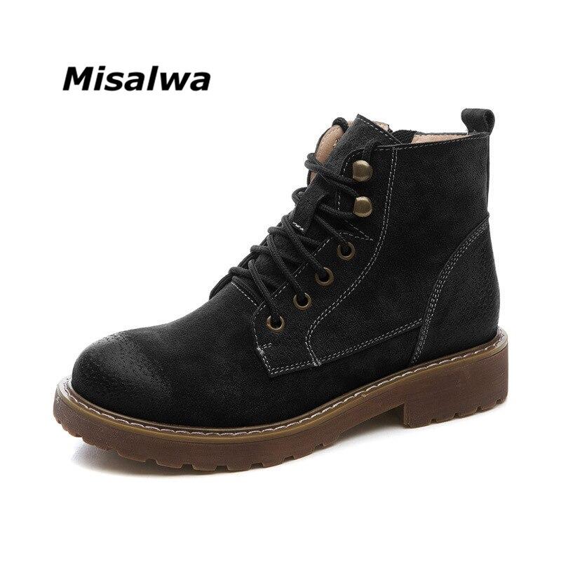 Misalwa 2018 Automne Et D'hiver Nouveau En Cuir Rétro Femmes de Bottes Casual Bottes Plus Le Velours Fermeture Éclair Fille Femelle de Femmes chaussures