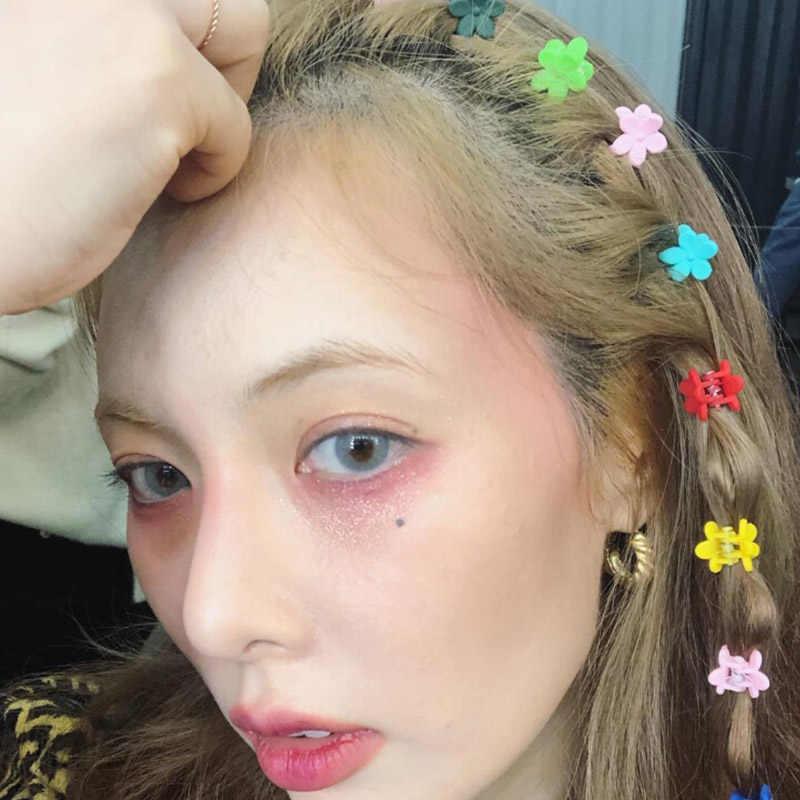 30 Uds niñas horquillas Mini garra lindo pasadores de pelo bonitos abrazadera flores Clips horquilla Color caramelo pequeña flor horquilla moda