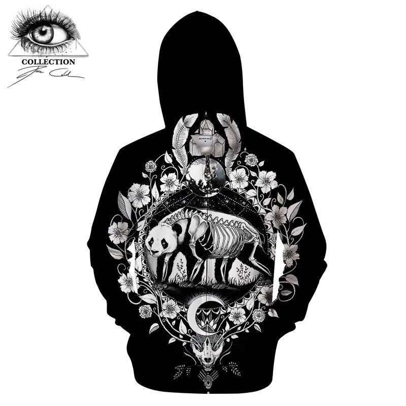 Panda Black By Pixie Cold Art 3D Zip Hoody Animal Hoodies Men Zipper Sweatshirt Groot Tracksuit Brand Pullover Unisex Drop Ship
