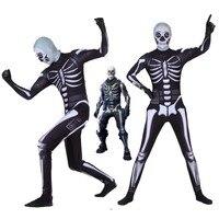 Adult Kids Hot Game Cosplay Costume Skull Trooper Human Zentai Bodysuit Suit Jumpsuits Scary Skeleton Halloween Costume