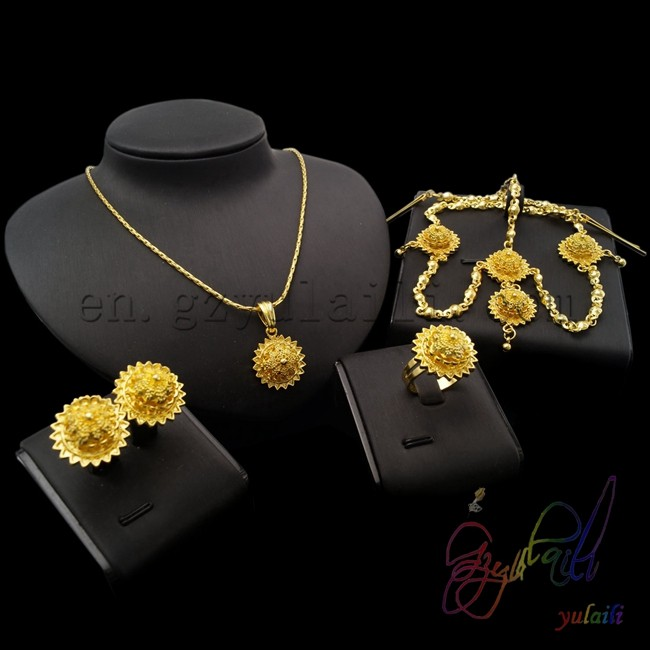 2017 Indian Bridal Fashion Jewelry Set Saudi Arabia Gold Color