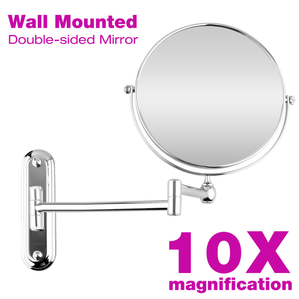 8 Inch Wall Mounted Makeup Mirror Extending Folding Round