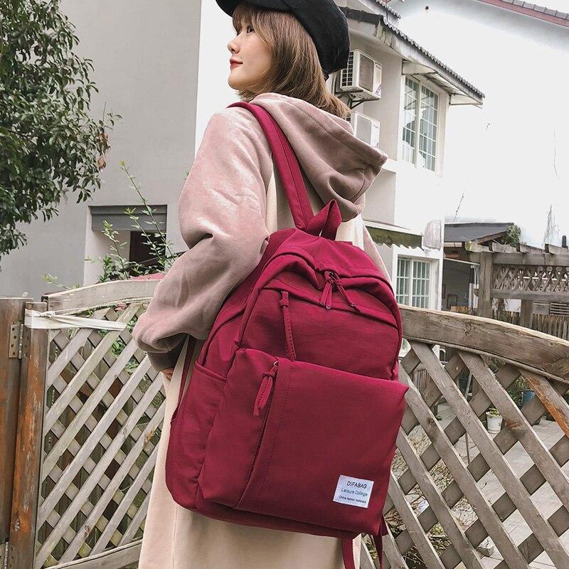 DCIMOR Classic waterproof nylon women backpack Large capacity multiple zip pocket Backpacks Travel bag Teenage Girls Schoolbag