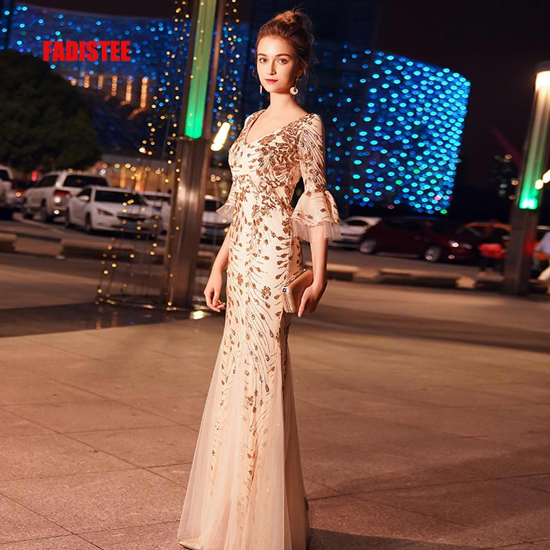 FADISTEE New Arrival Elegant Evening Party Prom Dresses Vestido De Festa Gown Mermaid Robe De Soiree 3/4 Sleeves Bling Sequins