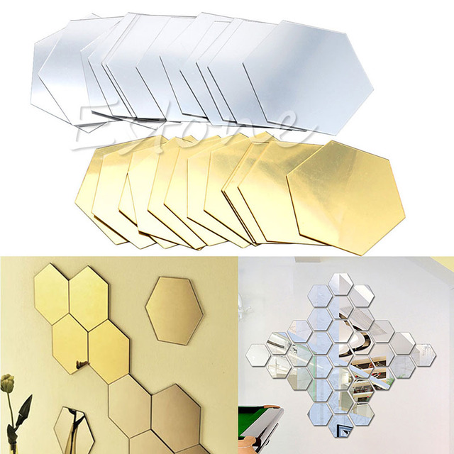 12PCS 3D Mirror Decal Hexagon Vinyl Removable Wall Sticker Home Art DIY Decor