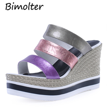 Bimolter Colorful Band Wedges High Heels Slippers Peep Toe Thick Heel Platform Shoes For Women Lady Beach FC083