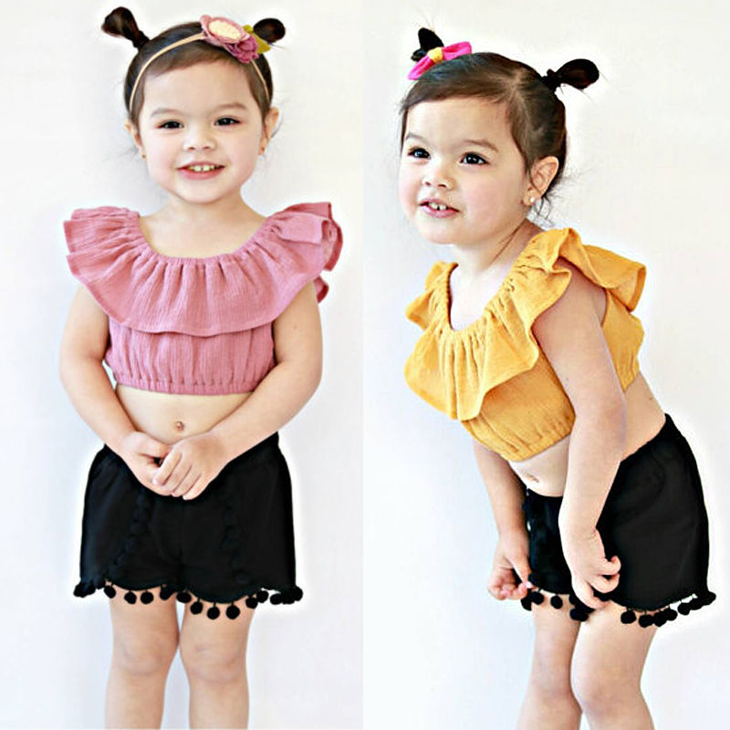047fceaabfe Toddler Kids Girls Outfit Crop Top T shirt Tassel Short Pants Summer Little  Girl Short Clothes Set Vetement Enfant Fille 2 8T-in Clothing Sets from  Mother ...