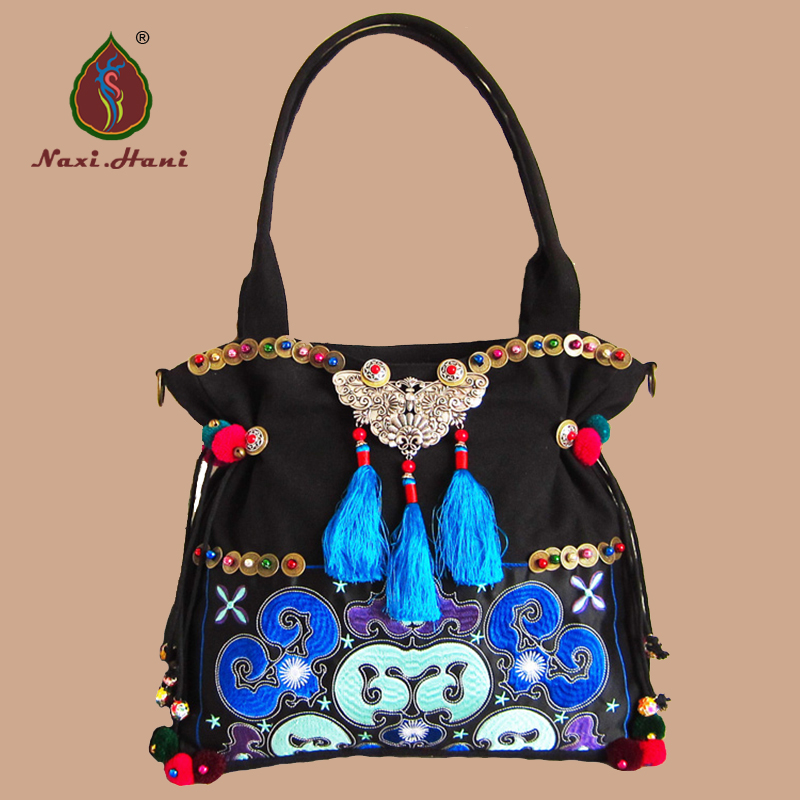 Hmong handmade embroidered women bags Vintage Ethnic bags Fashion canvas tassel shoulder messenger bags free shipping vintage hmong tribal ethnic thai indian boho shoulder bag message bag pu leather handmade embroidery tapestry 1018