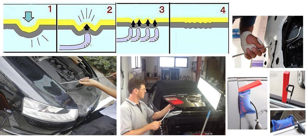 4size 8pc Dent Paintless Repair Aluminum Glue Puller Tabs