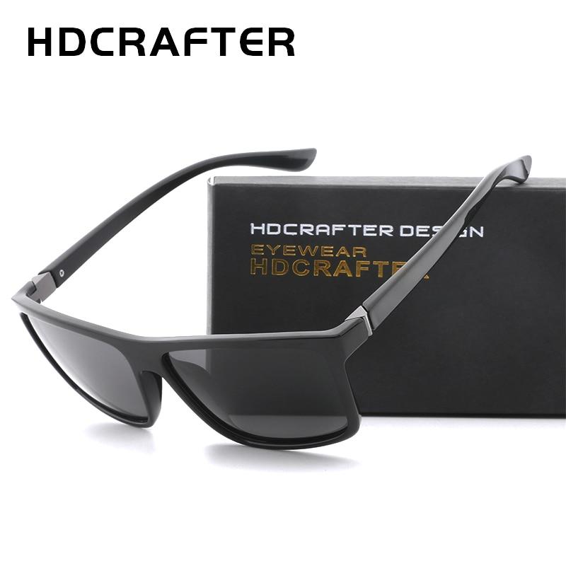 HDCRAFTER 2018 солнцезащитные очки Для Мужчин Поляризованные квадратные солнцезащитные очки бренд Дизайн UV400 защиты оттенков Для мужчин очки для ...