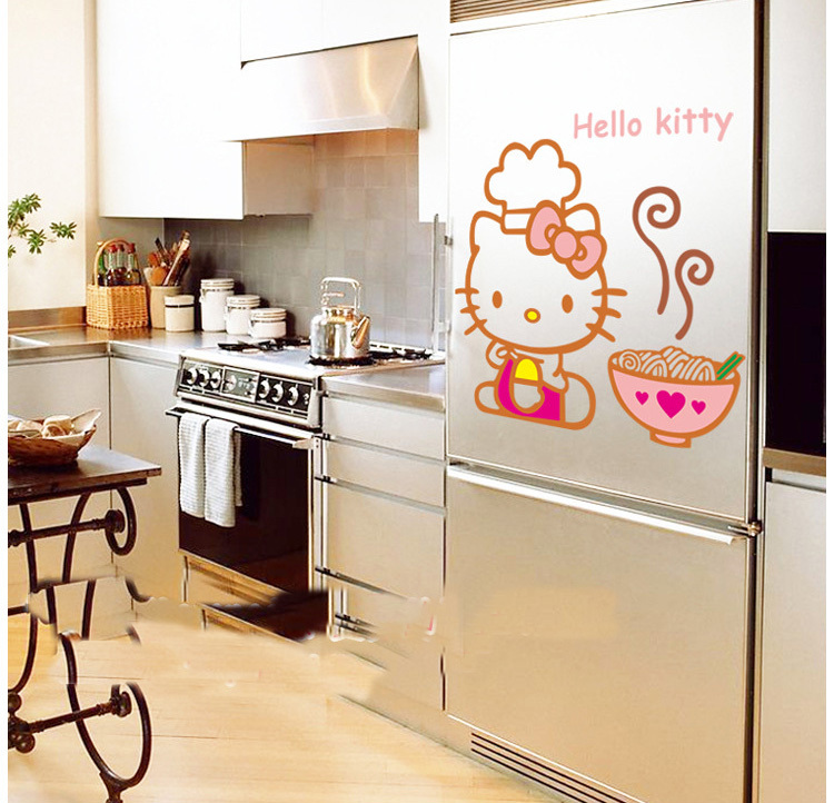 Hot Hello Kitty Kitchen Wall Stickers Diy Removable Home Decals Kids