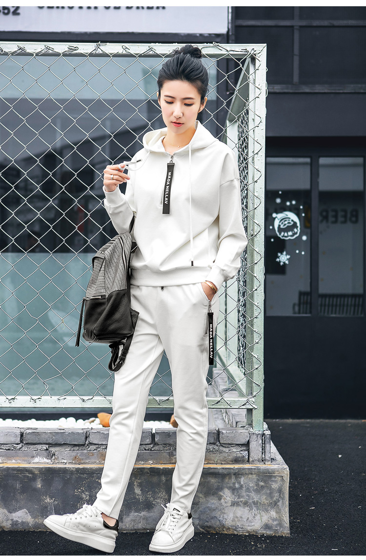 Double puppet suit women casual 17 spring new solid hooded two piece set zipper long sleeve 371009 10