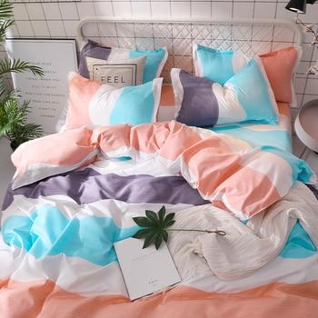 Pink white blue Bedlinen Queen King Size Duvet cover Set 4pcs Bedding Sets women's home bedding girls pillowcases bedlinen sheet