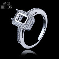 4x6mm Emerald Cut Pave 0 26ct Eternity Engagement Wedding Vintage Semi Mount Ring Real 14K White