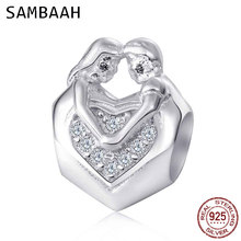 Sambaah 925 Sterling Silver Lover Couple Hug Each Other Charm Beads with CZ fit Pandora Valentines Day Gift Bracelet SS3497