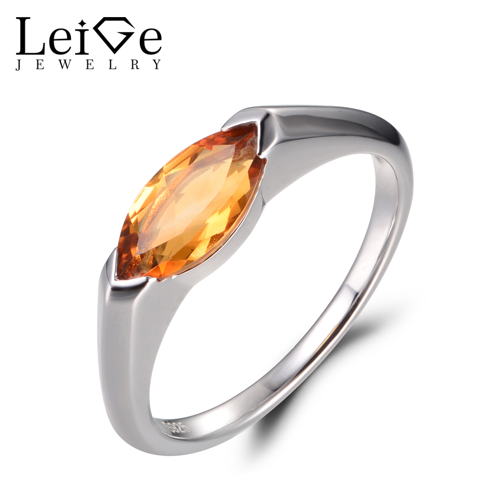 LeiGe Jewelry Vintage Rings Natural Yellow Citrine Rings Proposal Rings Marquise Cut Gemstone 925 Sterling Silver Gifts for Lady