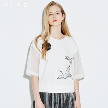 VING 2017 Summer New Arrival Women Chinese Style Cranes Embroidery Gauze Patchwork Short Sleeve O-Neck Collar T-Shirts