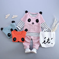 Baby clothing cartoon sets girls boys baby striped long t shirt+panda shirt t-shirts+pants 3pcs cute suits high quality clothes