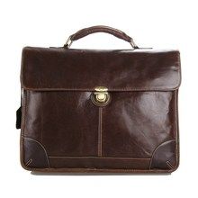7091C J.M.D Classical  Style Cowhide Leather Men's Chocolate Briefcase Laptop Bag Messenger