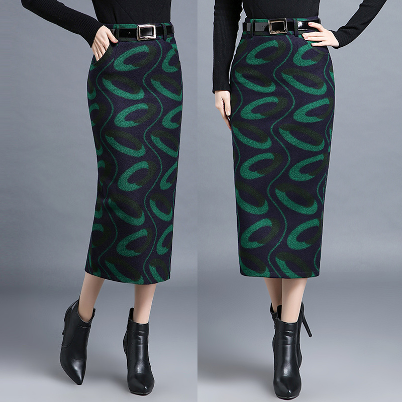 Winter Autumn Fashion Women Green Placket Woolen Pencil Skirt , Female Woman Slim 3xl 4xl High Waisted Wool Printed Long Skirts