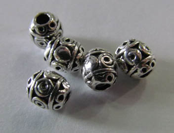 Haute qulity 6x8 8x10mm 12 pcs Bali Main 925 Sterling Argent Oxydé conception ronde baril charme spacer perle