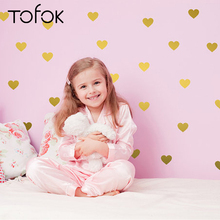 Tofok 45PCS Gold Little Hearts Wall Stickers Baby Child Nursery Removable Art Mural Decals DIY Modern Room Decor