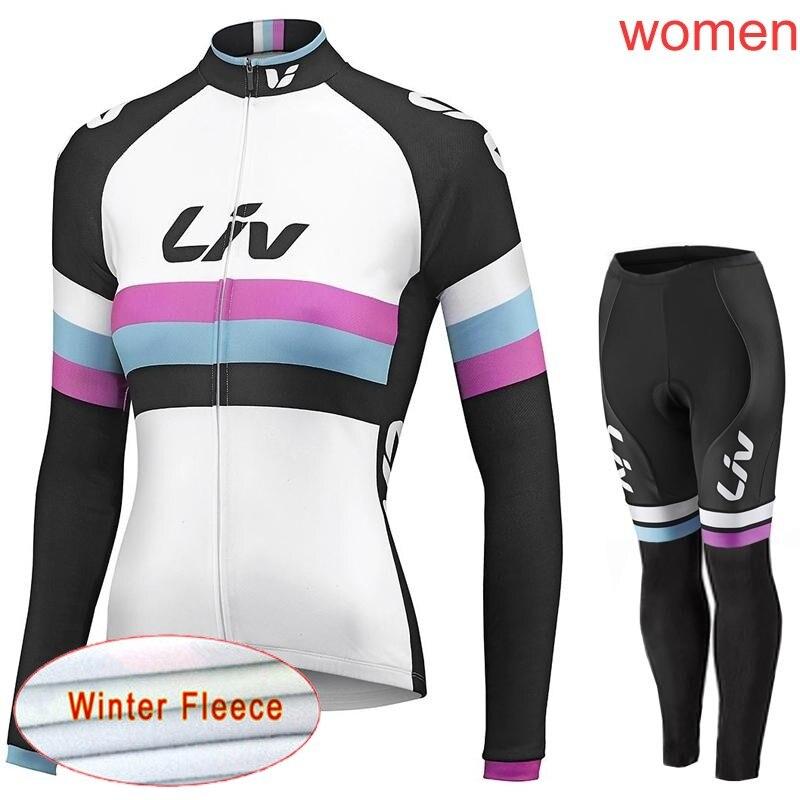 Femme LIV tout nouveau cyclisme hiver thermique polaire jersey bavoir pantalons ensembles vtt porter vélo vêtements 3D gel pad livraison gratuite H1002