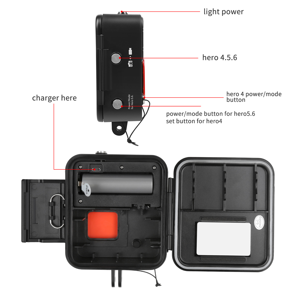 Funda impermeable de luz LED de buceo 1000LM para GoPro Hero7 6 5 4 mijia4k Cámara de Acción negra plateada con accesorio para ir Pro 6 5 - 2
