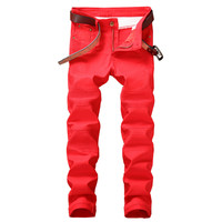 MORUANCLE New Fashion Men's Red Biker Jeans Pants Slim Fit Straight Motorcycle Denim Trousers Joggers For Male Size 29 38