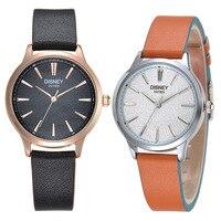Disney thương hiệu tình yêu phụ nữ người đàn ông đồng hồ Chính Hãng da thạch anh nam nữ đồng hồ 30 m không thấm nước màu đen hồng trắng nâu đồng hồ đeo tay