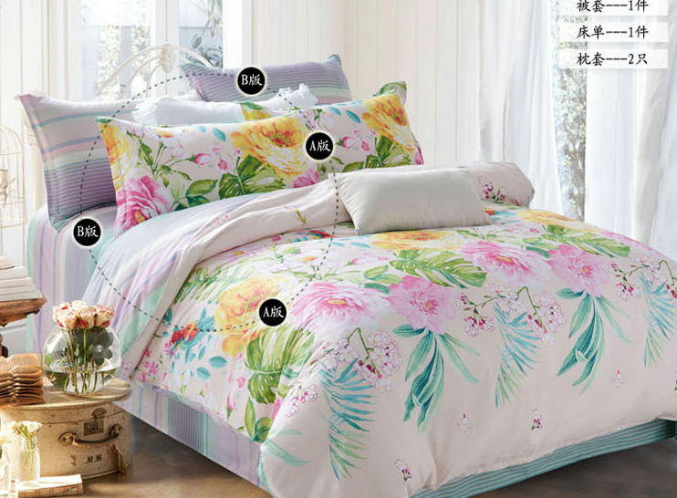 New Arrival 100% Cotton Spring Colorful Floral Plant Bedding Set Lively 4pcs Bedding Set Printed