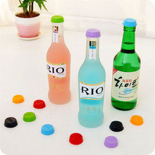 Beer Savers – 6 pcs/set 3 cm Silicone Beer Bottle Cap Colorful Beer and Wine Bottle Sealers