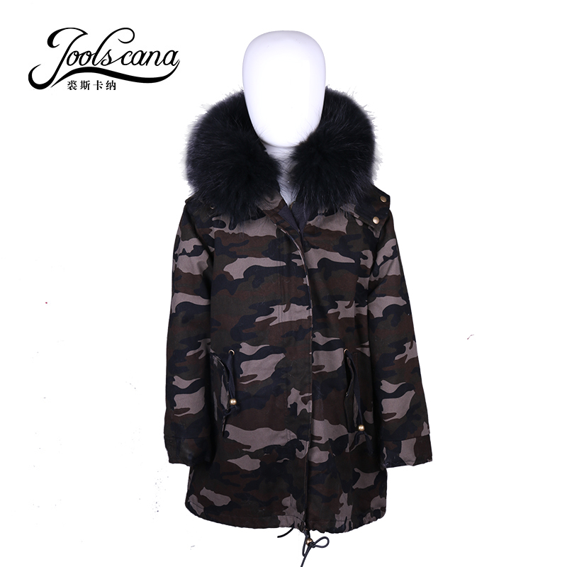 Joolscana kids fur coat boys girls jackets children clothes with natural fur lining real raccoon fur collar very warm in -40c