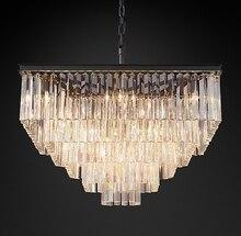 American Crystal Chandelier Creative Villa Club Living Room Bedroom Simple Postmodern Square Glass