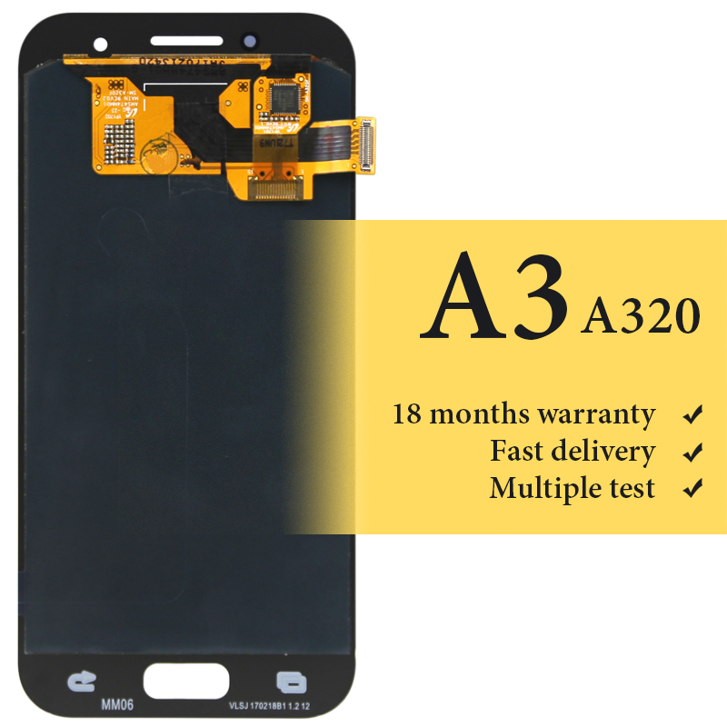 100% test bonne qualité d'origine OEM pour Samsung A3 2017 lcd écran numériseur pour téléphone mobile A320 A320f remplacement écran LCD