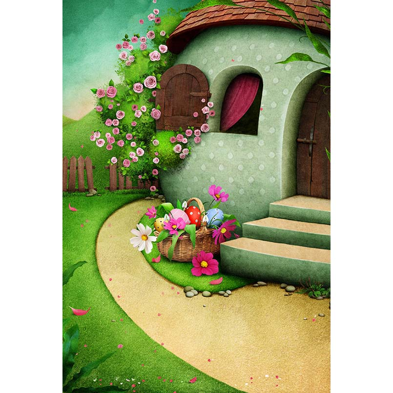 S-3074 Cartoon Easter Basket Eggs House Baby Newborn Child Photo Background Photography Backdrops