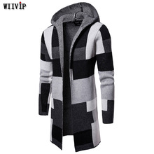 Male Autumn Winter Hooded Coat Knitted Jacket Middle-long Sweater Mens Patchwork Cardigans yw239