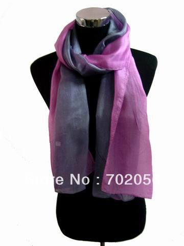 lady Fashion 2 tone silk   Scarf     wrap   shawl   Scarves   mixed color 10PCS/LOT #2504