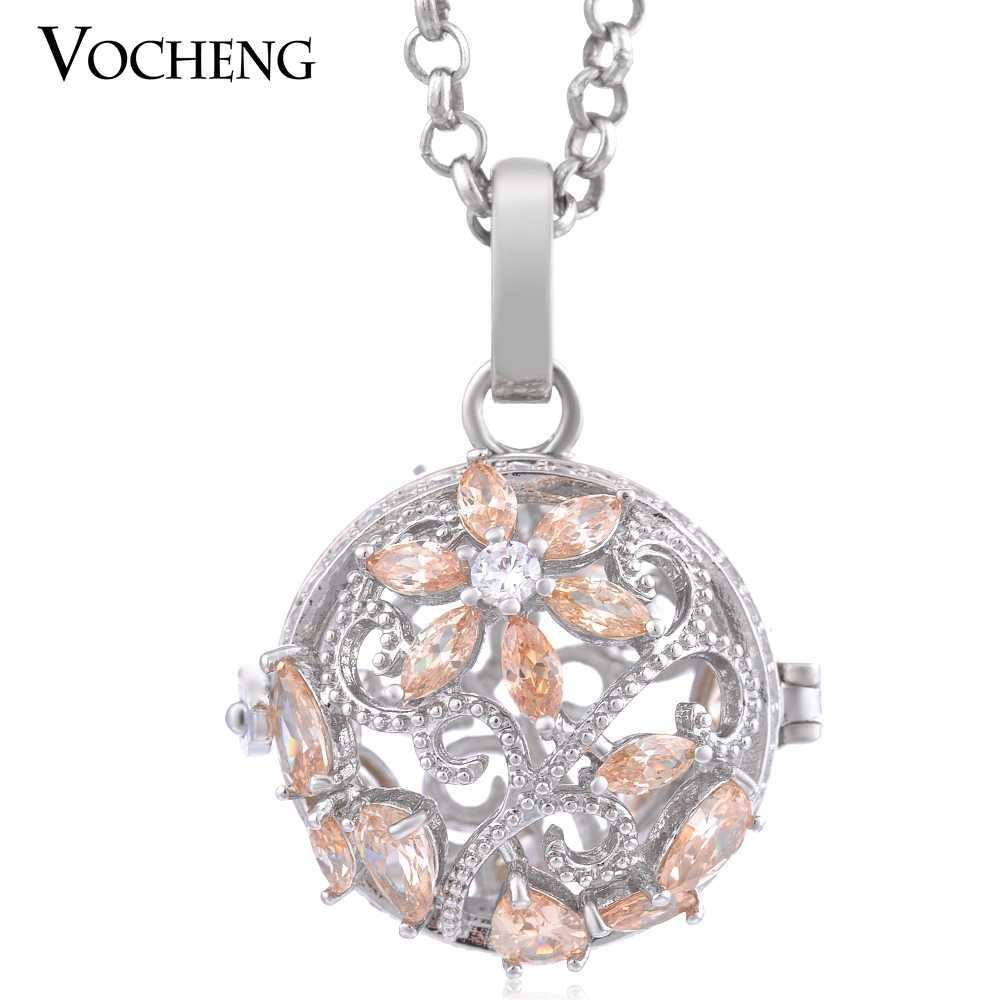 Vocheng 3 สีเม็กซิกัน Chime เครื่องประดับดอกไม้สแตนเลสสตีลฝัง CZ หินเปลี่ยนได้ Locket VA-222