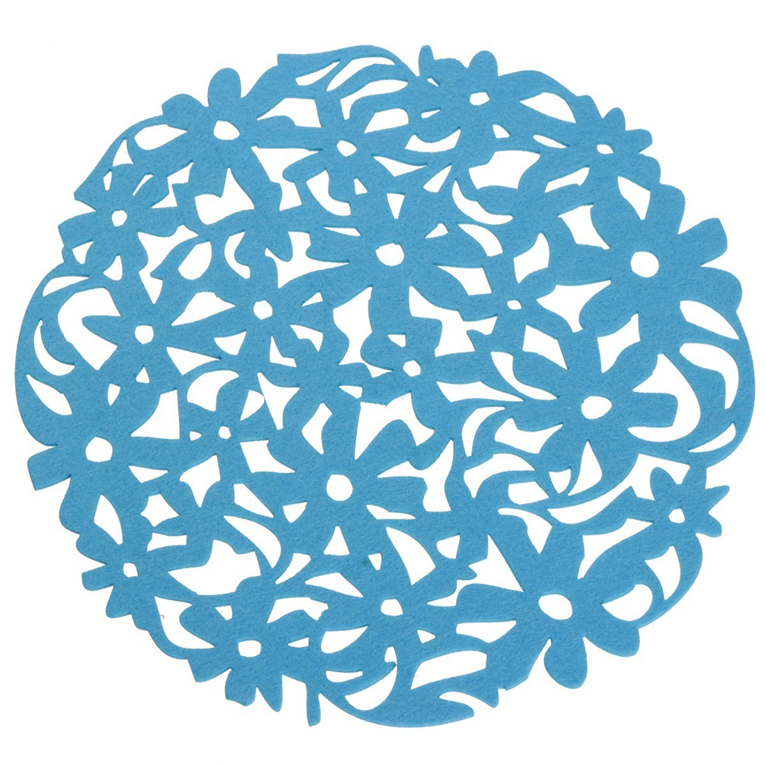 Best Round Laser Cut Flower Felt Placemats Kitchen Dinner Table Cup Mats Cushion blue