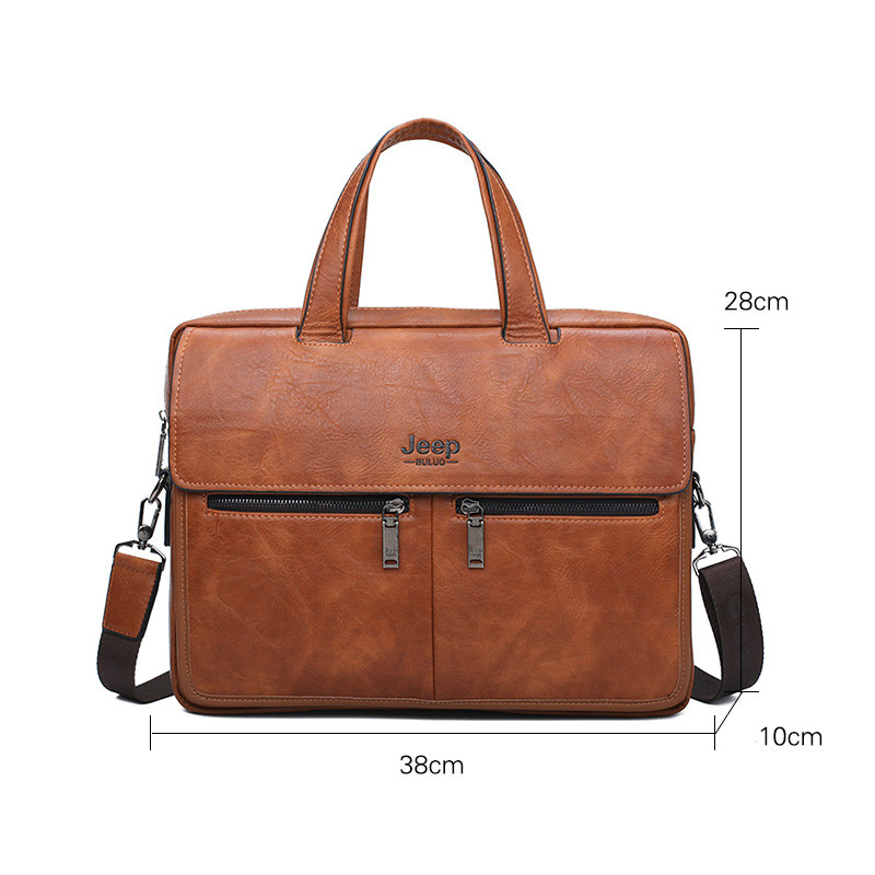 Image 3 - JEEP BULUO Famous Brand Men Bags Business Briefcase Bag Cow Split  Leather High Quality Travel Bags For 14 Laptop A4 Male BagBriefcases