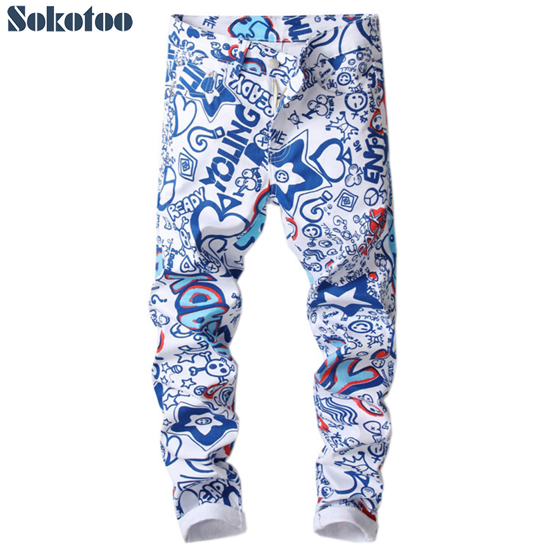Sokotoo Men's letters 3D printed   jeans   Fashion colored blue white slim skinny denim pants