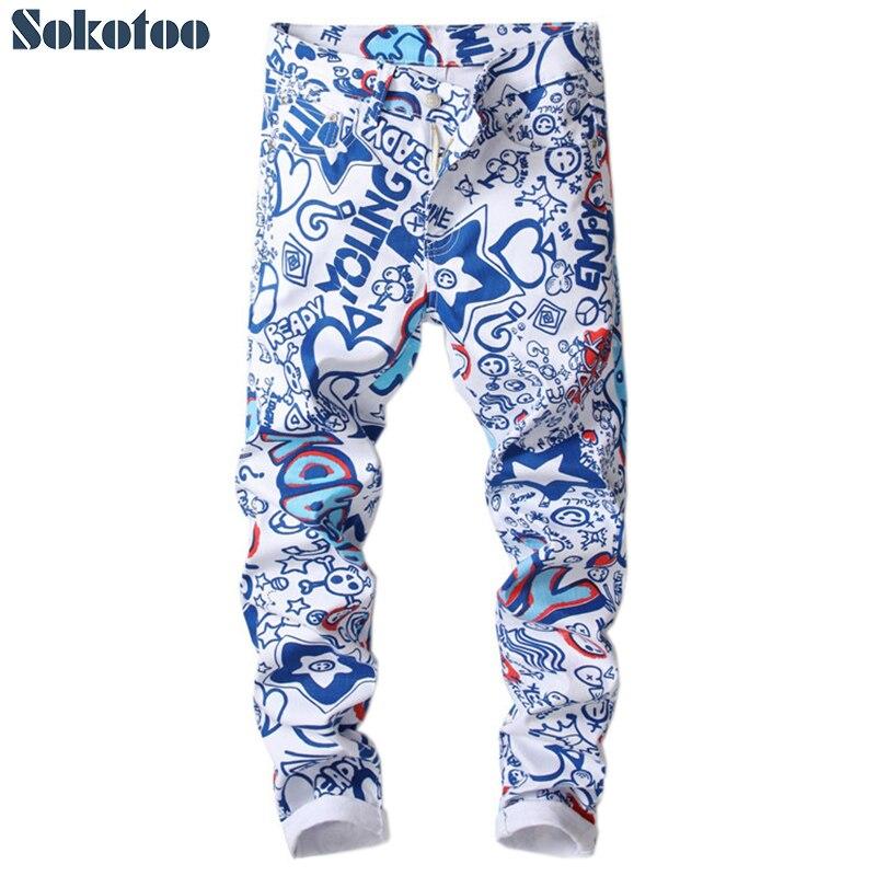 Sokotoo Men's letters 3D printed jeans Fashion colored blue white slim skinny denim pants